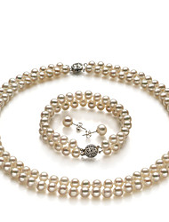 Grade A 6-7mm Fresh Water White Pearls Necklace And Bracelet Set
