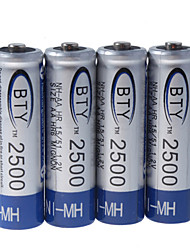 BTY 2500mAh Ni-MH Rechargeable AA Batteries (4-Pack)