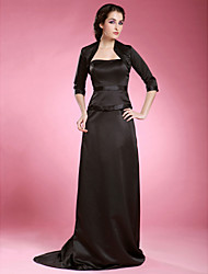 Lanting Bride® Sheath / Column Plus Size / Petite Mother of the Bride Dress - Wrap Included Sweep / Brush Train 3/4 Length Sleeve Satin