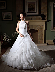 Lanting Ball Gown Plus Sizes Wedding Dress - Ivory Chapel Train High Neck Organza