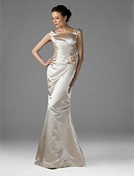 Floor-length Satin Elegant Bridesmaid Dress - Trumpet / Mermaid Square Plus Size / Petite with Flower(s) / Side Draping