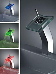 Single Handle Chrome Waterfall LED Bathroom Sink Faucet (0698 -L-4004)