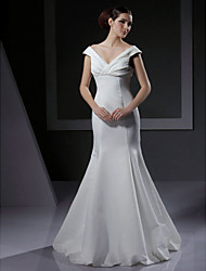 Mermaid / Trumpet V-neck Off-the-shoulder Floor Length Satin Wedding Dress with Criss-Cross by LAN TING BRIDE®