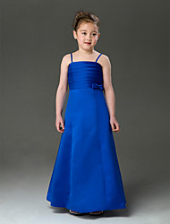Lanting Bride ® A-line / Princess Floor-length Flower Girl Dress - Satin Sleeveless Spaghetti Straps with Bow(s)