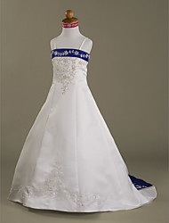 A-line Princess Court Train Flower Girl Dress - Satin Spaghetti Straps with Appliques Beading