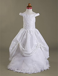 Lanting Bride ® Ball Gown Floor-length Flower Girl Dress - Lace / Taffeta Sleeveless Off-the-shoulder / Spaghetti Straps