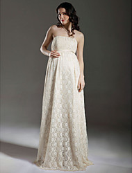 Sheath/Column Maternity Wedding Dress - Champagne Floor-length Strapless Lace