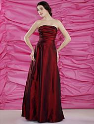 Sheath/Column Plus Sizes / Petite Mother of the Bride Dress - Burgundy Floor-length Sleeveless Taffeta
