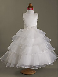 A-line / Ball Gown / Princess Tea-length Flower Girl Dress - Organza / Satin Sleeveless Square with Beading / Flower(s) / Tiers