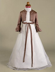 A-Line Princess Floor Length Flower Girl Dress - Organza Satin Long Sleeves Jewel Neck with Ribbon by LAN TING BRIDE®