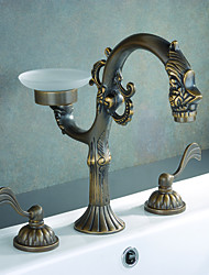 Antique Brass Finish Bathroom Sink Faucet (Widespread)