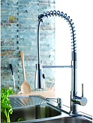 Solid Brass Spring Kitchen Faucet - Chrome Finish