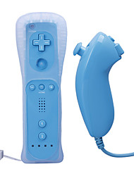 Remote and Nunchuk Controller with Case for Wii/Wii U (Blue)