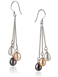 AAA 7-8mm black freshwater Pearl Earring with Sterling Silver Clasp