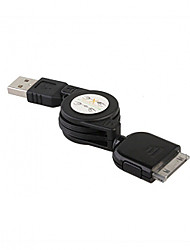 Retractable USB Data + Charging Cable for All iPod/iPhone (70CM-Cable)