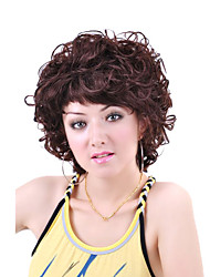 Capless Short High Quality Synthetic   Nature Look Brown Curly Hair Wig