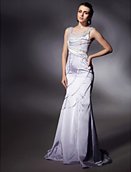 Military Ball/Formal Evening Dress - Lavender Plus Sizes Trumpet/Mermaid Scoop/Straps Sweep/Brush Train Satin