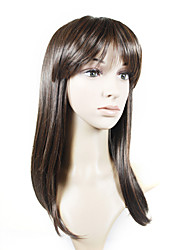Capless Long High Quality Synthetic Natural Look Brown Straight Hair Wig