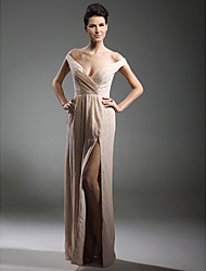 Sheath / Column V-neck Off-the-shoulder Floor Length Chiffon Evening Dress with Beading by TS Couture®