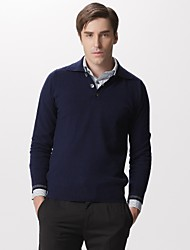 Polo Neck Button Front Men's Cashmere Pullover
