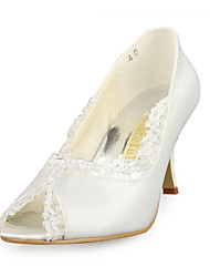 Satin Upper Stiletto Heel  Peep Toe With Stitching Lace Wedding Bridal Shoes