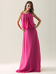 Lanting Bride® Floor-length Chiffon Bridesmaid Dress - Sheath / Column Spaghetti Straps Plus Size / Petite with Draping