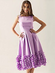 Knee-length Bateau Bridesmaid Dress - Floral Sleeveless Satin