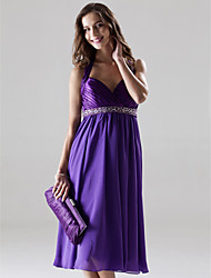 Knee-length Chiffon / Charmeuse Bridesmaid Dress - A-line / Princess Halter / Sweetheart Plus Size / Petite withBeading / Crystal