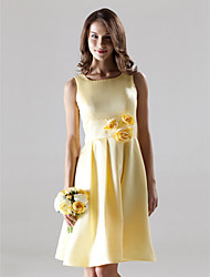Lanting Bride® Knee-length Satin Bridesmaid Dress - A-line Square / Straps Plus Size / Petite with Draping / Flower(s)