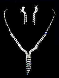 Beautiful Czech Rhinestones With Alloy Plated Wedding Bridal Necklace And Earrings Jewelry Set