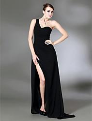 folga! coluna um trem varrer ombro chiffon mais de vestido de noite de cetim stretch inspirada por Jennifer Aniston no Globo de Ouro