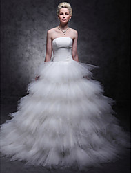 Lanting Ball Gown Plus Sizes Wedding Dress - Ivory Sweep/Brush Train Strapless Tulle