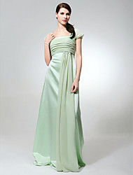 Lanting Bride Floor-length Chiffon / Satin Bridesmaid Dress Sheath / Column Square Plus Size / Petite with Beading / Ruching