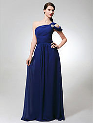 Lanting Bride Floor-length Chiffon Bridesmaid Dress A-line One Shoulder Plus Size / Petite with Side Draping / Ruching / Crystal Brooch