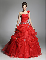Ball Gown One Shoulder Floor Length Organza Prom Dress with Appliques by TS Couture®