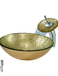 Golden Round Tempered glass Vessel Sink With Waterfall Faucet, Mounting Ring and Water Drain(0888-C-BLY-6527-WF)