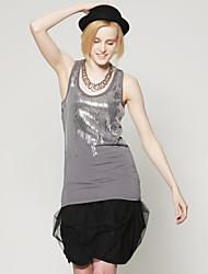 Front Special Sequins Design Longline Vest / Women's Vests (FF-B-CC2022003)