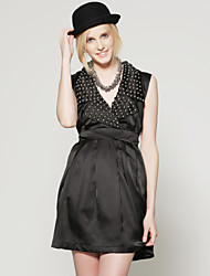 TS Metallic Embellished High Waist Lapel Pleated Vest Dress