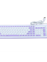 Water-proof silicone keyboard with USB cable (White+Purple)