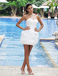 Ball Gown Plus Sizes Wedding Dress - Ivory Short/Mini Sweetheart Satin