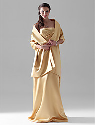 Lanting Bride® Floor-length Satin Bridesmaid Dress - Sheath / Column Strapless Plus Size / Petite with Side Draping