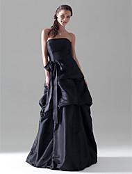 Lanting Bride Floor-length Taffeta Bridesmaid Dress A-line / Princess Strapless Plus Size / Petite withBow(s) / Pick Up Skirt / Sash /