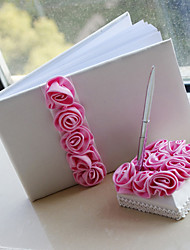 Luxury Wedding Guest Book and Pen Set With Pink Roses Sign In Book Coral Wedding