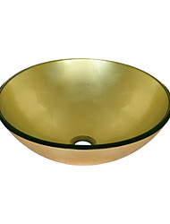 Golden Round Tempered glass Vessel Sink(0888-BLY-6470)