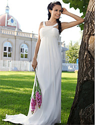 Lanting Sheath/ Column Straps Sweep/ Brush Train Chiffon Wedding Dress