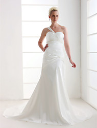 Lanting Sheath/ Column One Shoulder Court Train Satin Wedding Dress