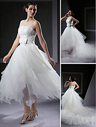 Ball Gown Plus Sizes Wedding Dress - Ivory Asymmetrical Strapless Organza