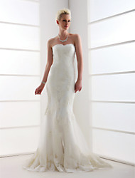 Trumpet/Mermaid Plus Sizes Wedding Dress - Ivory Sweep/Brush Train Sweetheart Tulle