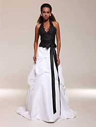 A-Line Ball Gown Halter V-neck Sweep / Brush Train Satin Taffeta Evening with Beading by TS Couture®
