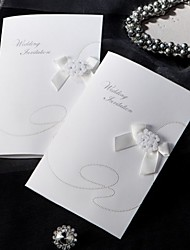 Sample Elegant Style Folded Wedding Invitation With Ribbon Bow (One Set)
